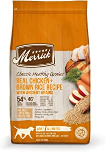 Merrick Classic Healthy Grains Real Chicken & Brown Rice Recipe with Ancient Grains Dry Dog Food, 4 lbs.