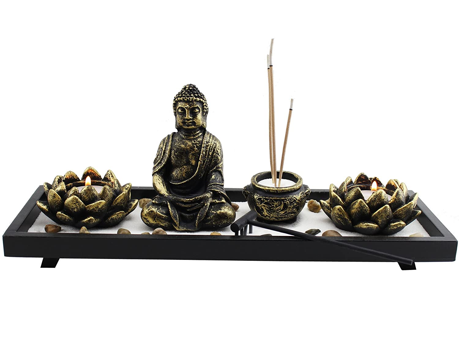 Feng Shui Tabletop Zen Garden Buddha Rock Rake Sand Candle Incense Burner Home Decor Gift (KT00034) ~ We Pay Your Sales Tax