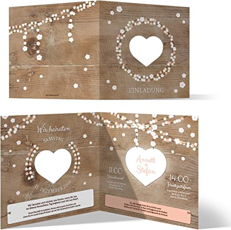 Hochzeits-Einladungskarten in Holzoptik