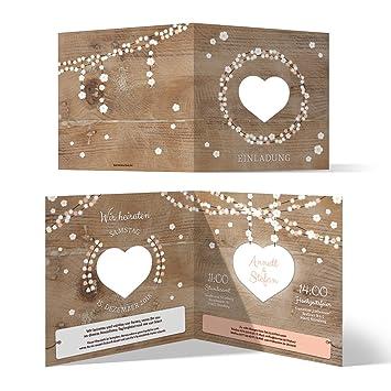 10 X Lasergeschnittene Hochzeit Einladungskarten