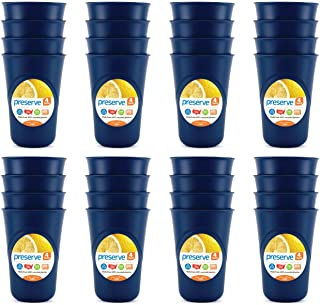 product image for Preserve Everyday BPA Free 16 ounce Cups Made from Recycled Plastic in the USA, Bulk Set of 32, Blue