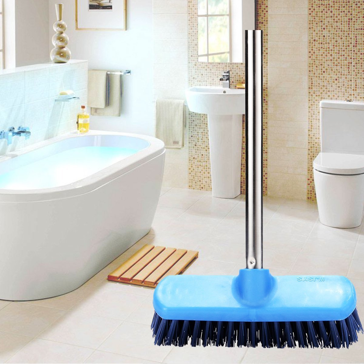 Amazon.com: Floor Deck Scrub Brush, YCUTE 47\'\' Stainless Steel Long ...