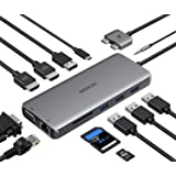 MacBook Pro Docking Station Dual Monitor MacBook Pro HDMI Adapter,12 in 1 USB C Adapters for MacBook Pro Air Mac HDMI Dock Do