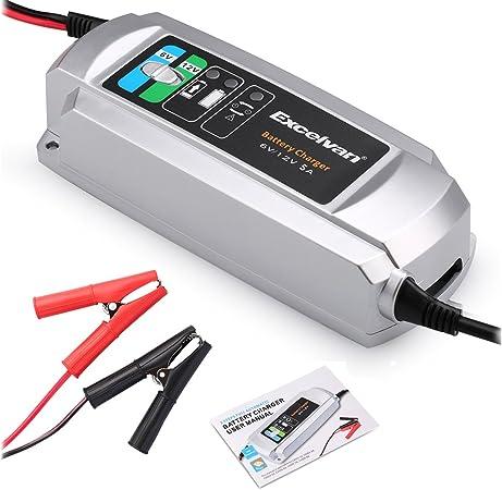 Excelvan 5a 6v 12v Batterieladegerät 3 Stufen Aufladung Batteriespannungsanzeige Für 10 Bis 200 Ah Batterie Leiser Lüfter Für Blei Säure Batterien Agm Gel Kfz Motorrad Suv Rasenmäher Auto