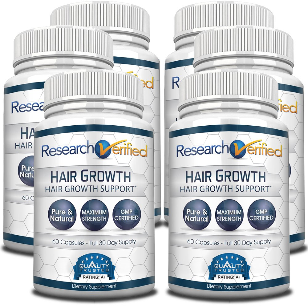 Research Verified Hair Growth Support - with Biotin, DHT Blockers & Vitamins - Hair Growth and Hair Loss Prevention, 6 Bottles (6 Months Supply)