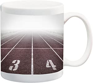 Track and Field Run Running Race 11 ounce Ceramic Coffee Mug Tea Cup by Moonlight Printing
