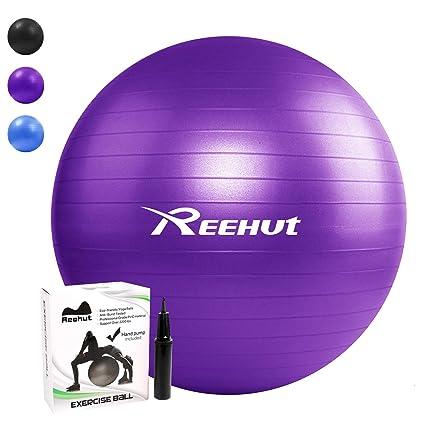 REEHUT Pelota de Ejercicio Anti-Burst para Yoga, Equilibrio, Fitness, Entrenamiento, incluidos Bomba y Manual de Usuario - 55cm 65cm 75cm