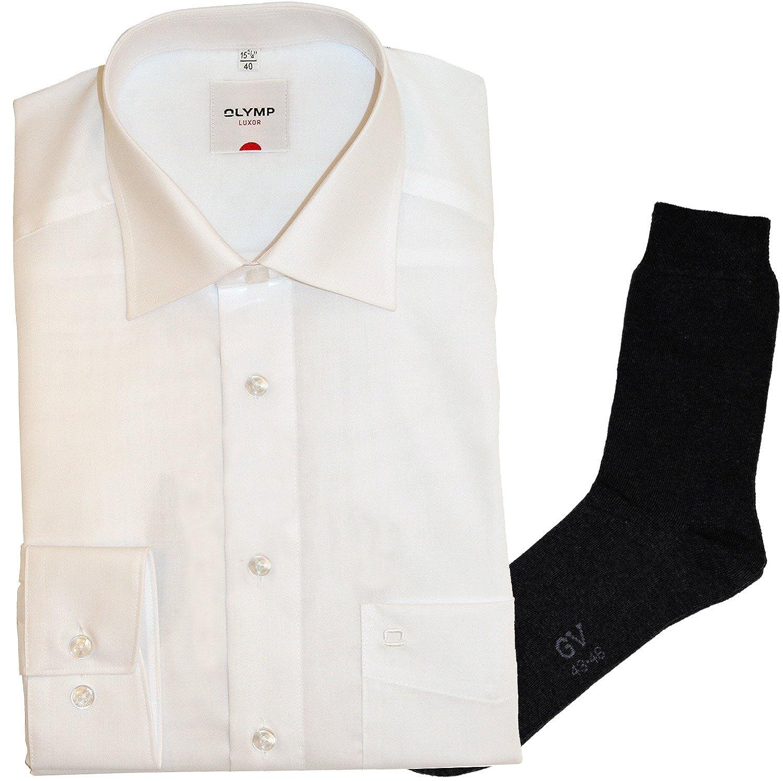 Olymp Olymp Olymp Hemd Luxor Comfort Fit - extra langer Arm 69cm, New Kent Kragen, weiß + 1 Paar hochwertige Socken, Bundle B00VHTP6XE Business Bekannt für seine schöne Qualität bbd196
