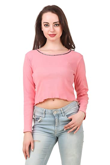 7533ae525aebda FAIRIANO Women Full Sleeve Solid Pink Crop Party Top  Amazon.in  Clothing    Accessories