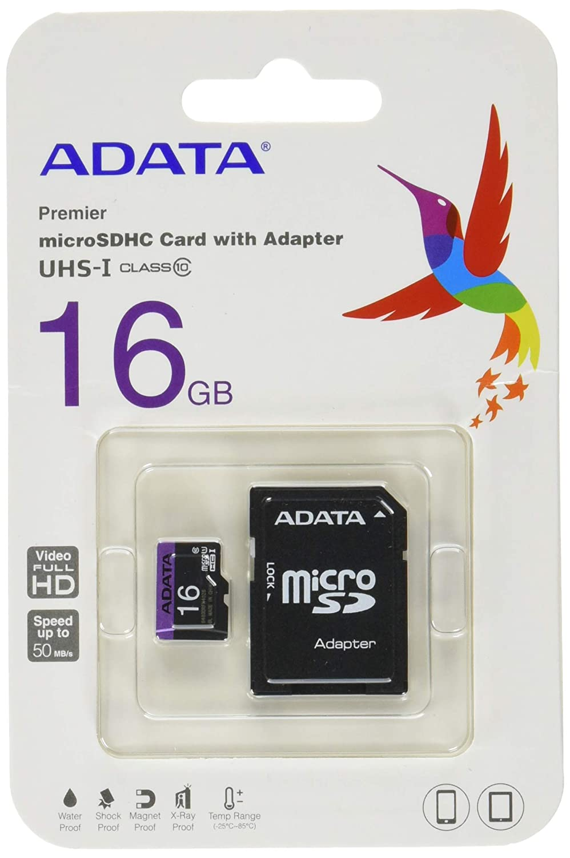 AData AUSDH16GUICL10-RA1 Premier MICR SDHC Class 10 UHS-I - Tarjeta Micro SD de 16 GB (Adaptador de Memoria Incluido, Clase: 10), Negro y Gris