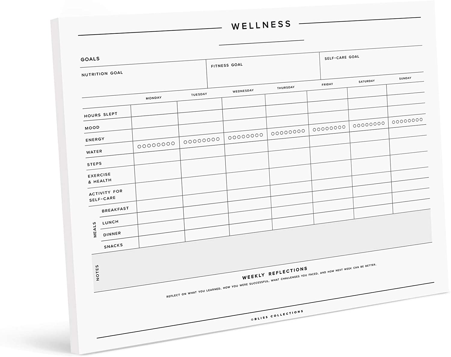 Bliss Collections Wellness and Habit Tracker Notepad, Minimalist Journal for Tracking Sleep, Exercise, Water and Food Intake, Moods, Energy, Self-Care and More - Undated Weekly Organizer