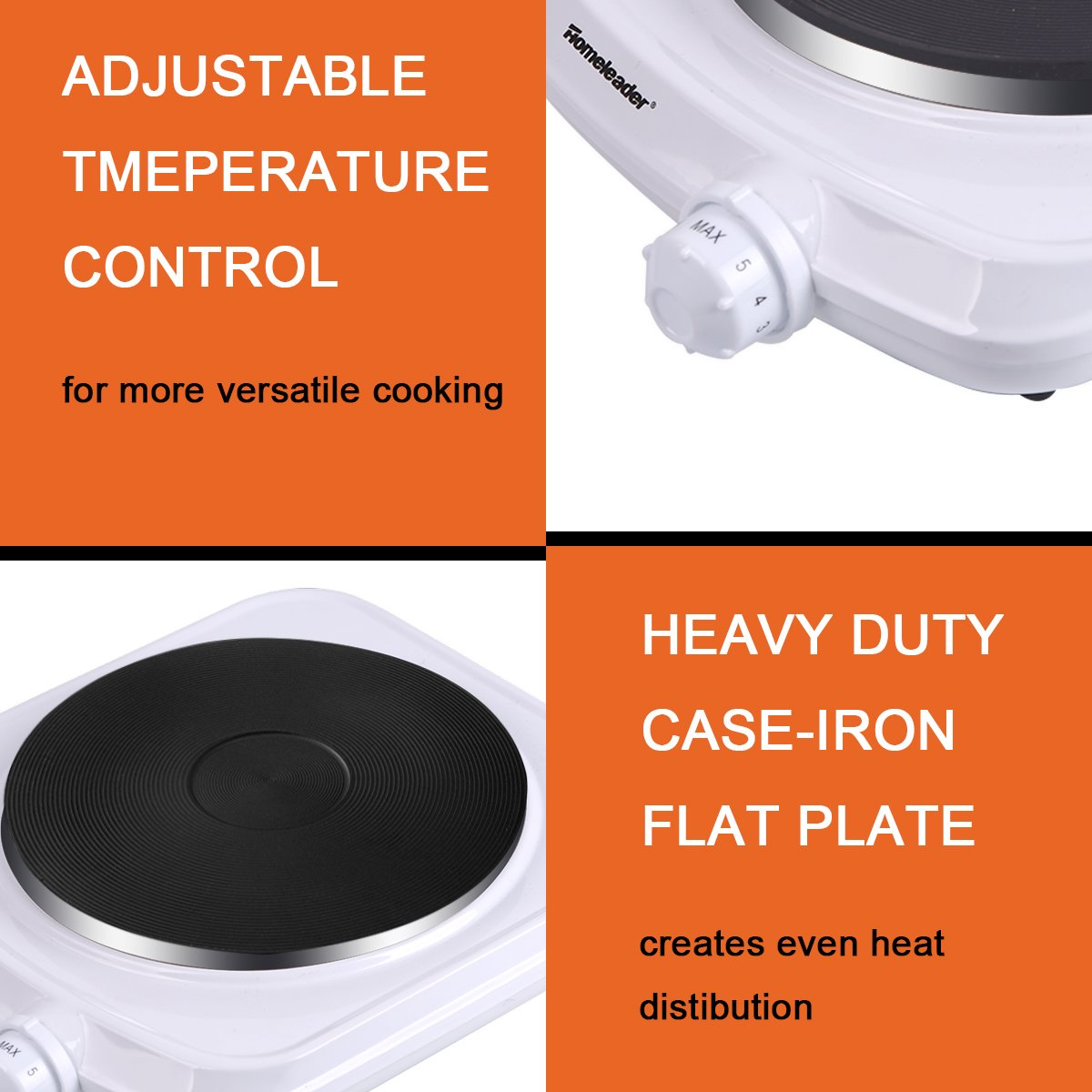 Homeleader Single Hot Plate, Stainless Steel Electric Contertop Burner, 1000W by Homeleader (Image #3)