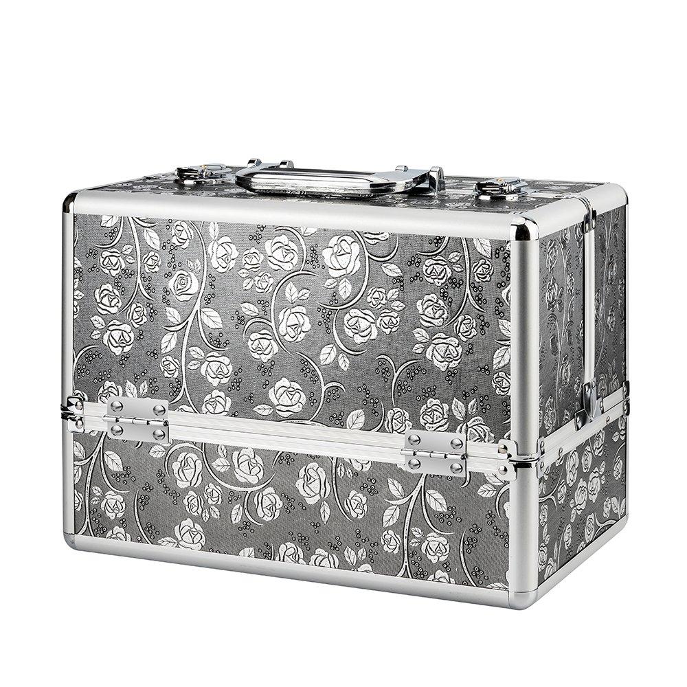 AMASAVA Mallette à Maquillage Coffret cosmétique Boîte à Maquillage Beauty Case avec cloison et clé Coffrets Professionnelle Panneaux argentés aux Motifs de Fleurs- 26.5 × 21 × 26.5 cm