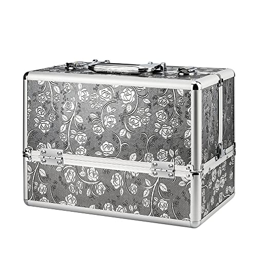 AMASAVA Makeup Box, Storage Beauty Box 4 Trays Make up Nail Jewelry Box Extra Large Space Cosmetic Vanity Case Toiletry Organiser Makeup Train Case Aluminium Silver Flower Pattern
