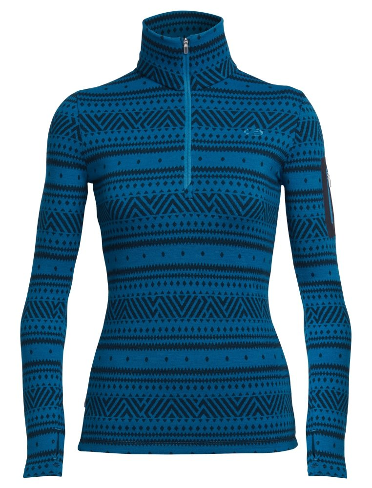 Icebreaker Merino Women's Vertex Long Sleeve Half Zip Icon fairisle Print, Alpine/Jet Heather, Medium