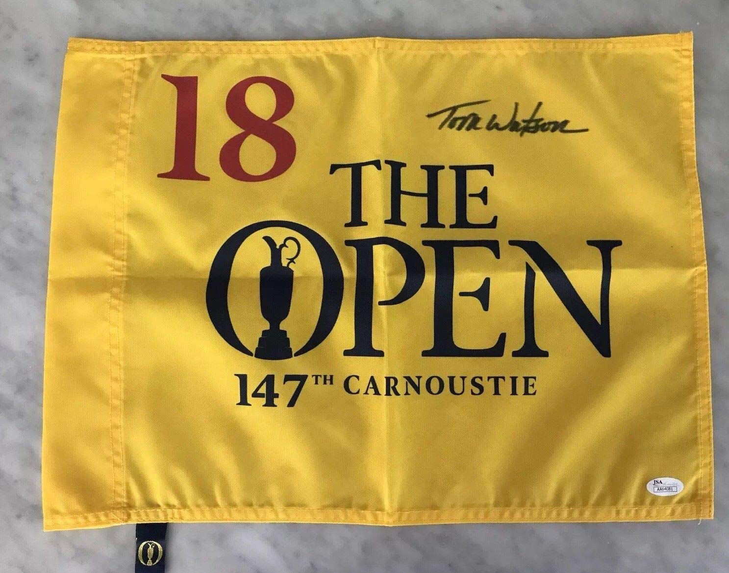 TOM WATSON AUTO AUTOGRAPH SIGNED 147TH BRITISH OPEN CARNOUSTIE GOLF PIN FLAG COA JSA