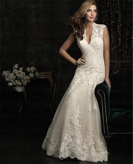 LUCKY-U Vestito da Sposa Sposa A-Line V-Collo Organza con Perline ... 7550845ff79