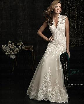LUCKY-U Vestido de novia Novia Alinear Escote en V Organza con abalorios Vestidos de