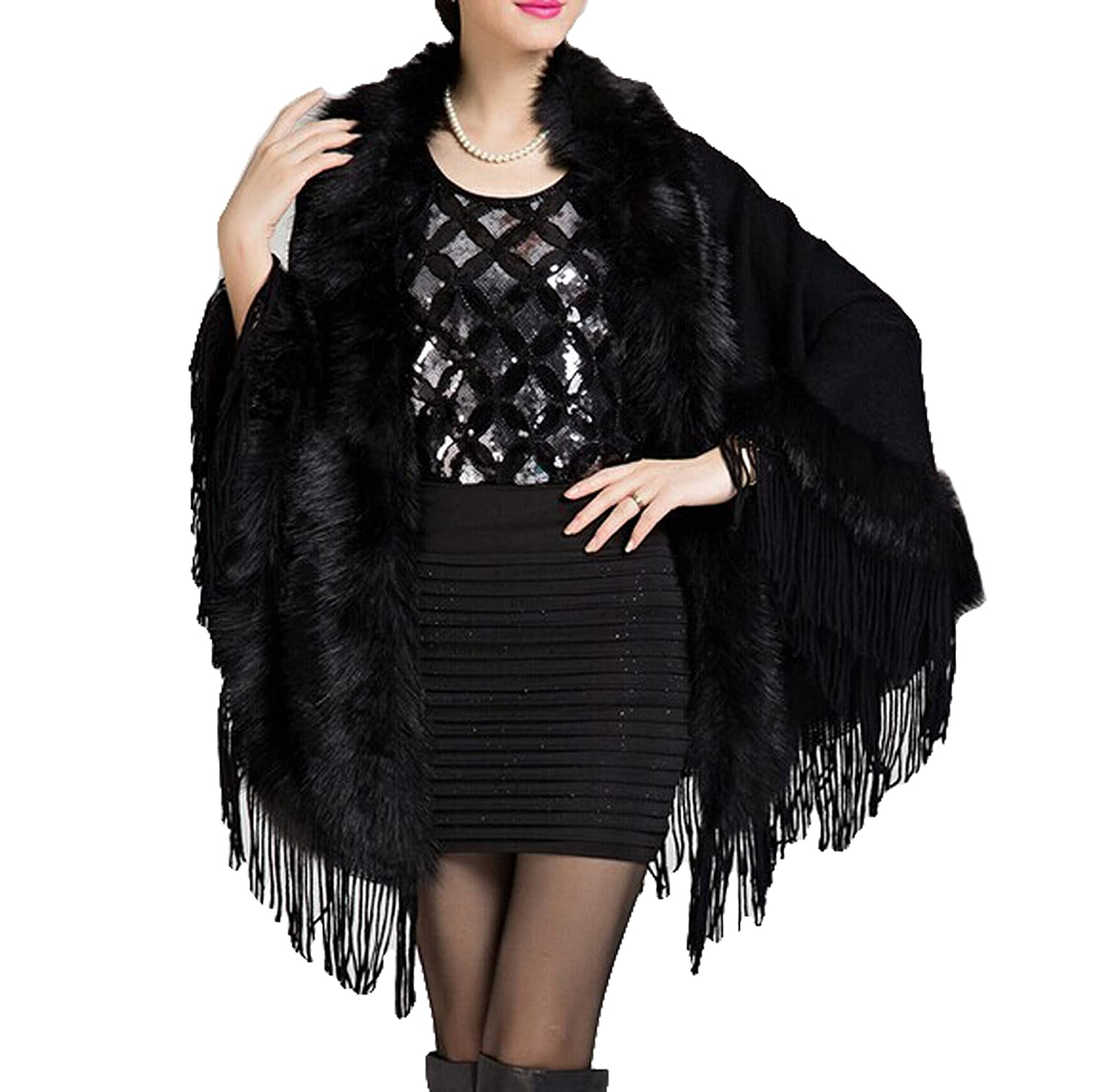 damen faux kaschmir schal umhang wasserabweisend fringed cape cardigan online bestellen. Black Bedroom Furniture Sets. Home Design Ideas