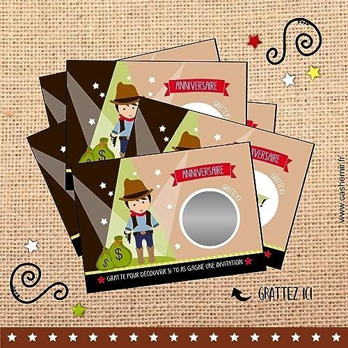 Cartes A Gratter Invitation Anniversaire Enfant Garcon Par Lot De 8 Cowboy Ref 19 Amazon Fr Handmade