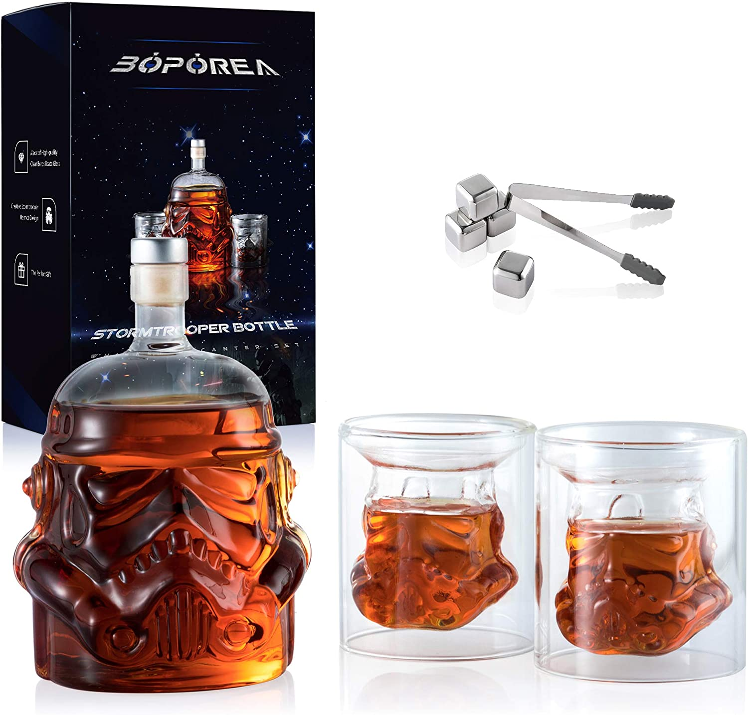 Transparent Creative Whiskey Decanter Set with 2 Glasses, 4 Stainless Steel Ice Cubes and Ice Tong,Flask Carafe,Whiskey Carafe for Wine,Scotch,Bourbon,Vodka,Liquor - 750ML(New Packaging)