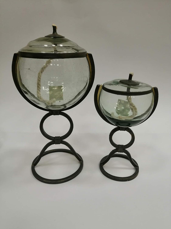 soffiato con la bocca diametro ca Lampada ad olio rotonda vetro chiaro 4 cm Altezza ca 3,6 cm Oberstdorfer Glash/ütte lampada ad petroleo in vetro trasparente da appoggiare lampada da tavolo vetro cristallo