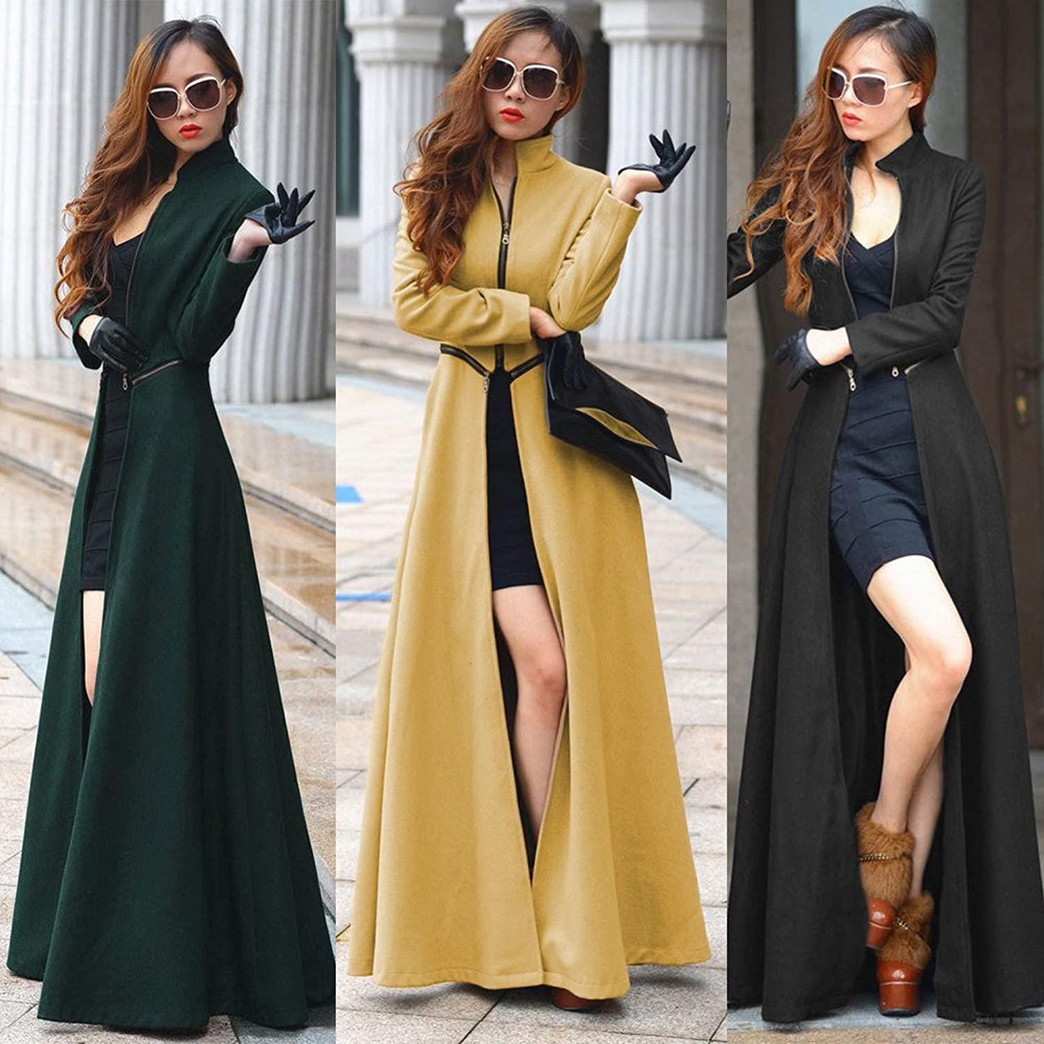 Amazon.com: LuShmily Womenu0027s Floor Length Long Trench Open Fork Winter Coat:  Clothing