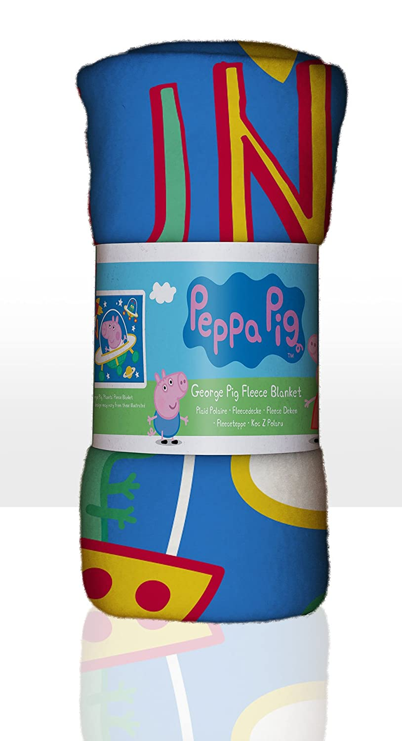 Peppa Pig George Blanket Polar Fleece – Space Planets Design, Polyester, Blue, Single Character World PEGPLEFL001UK