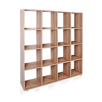 Estanteria 16 Compartimentos Estante Roble Libreria Separador - Estanterias-separadoras-de-ambientes