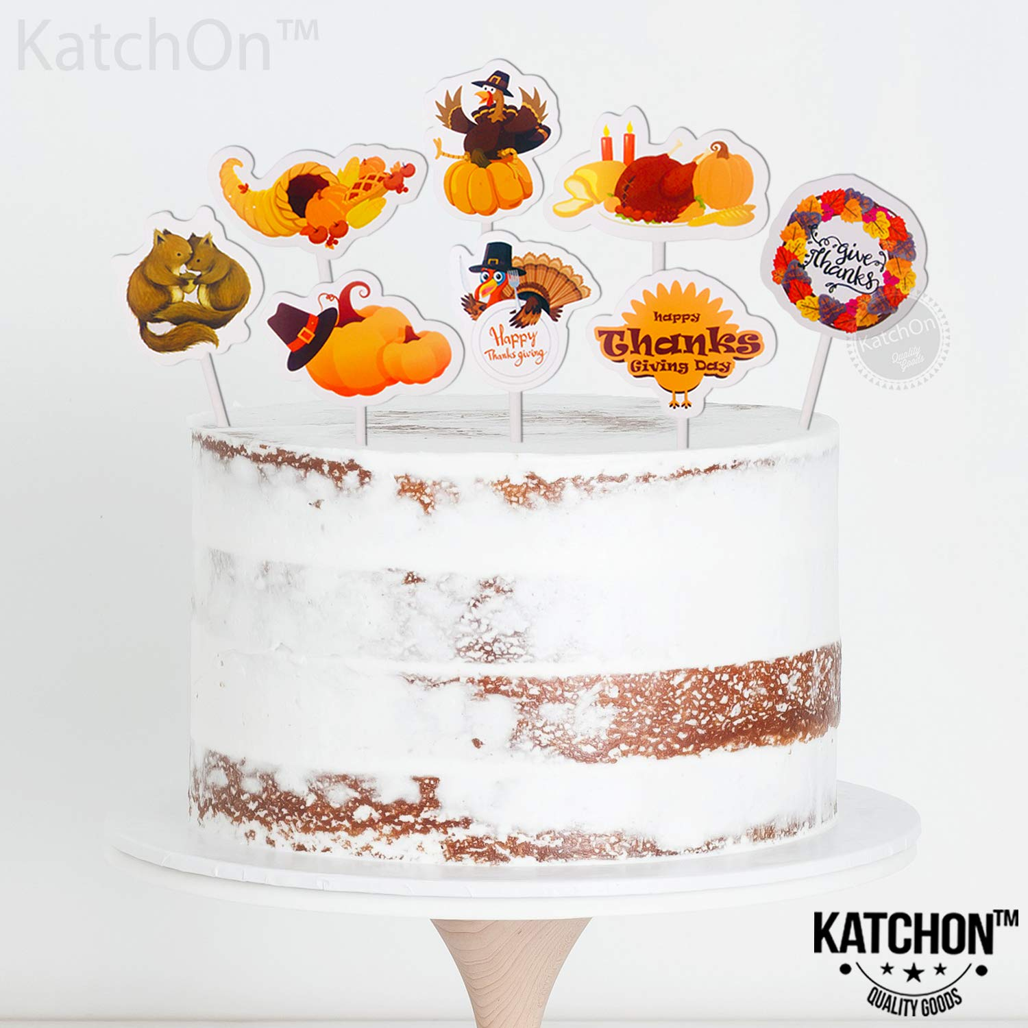 Thanksgiving Cake Topper for Thanksgiving Decorations Thanksgiving Party Favors for Family and Kids Happy Thanksgiving Little DIY Required Pack of 24 Beautiful Cake Toppers -Turkey Pumpkin