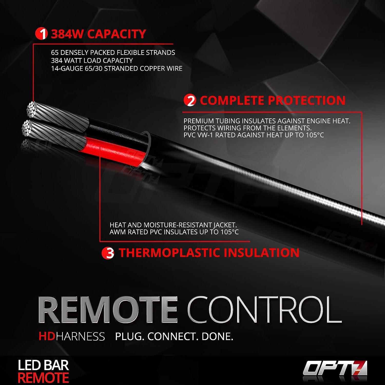 OPT7 LED Light Bar Wiring Harness with Wireless Remote Switch 9ft Dimmer Strobe Waterproof Relay Splitter 14 Gauge 380W 2-Way