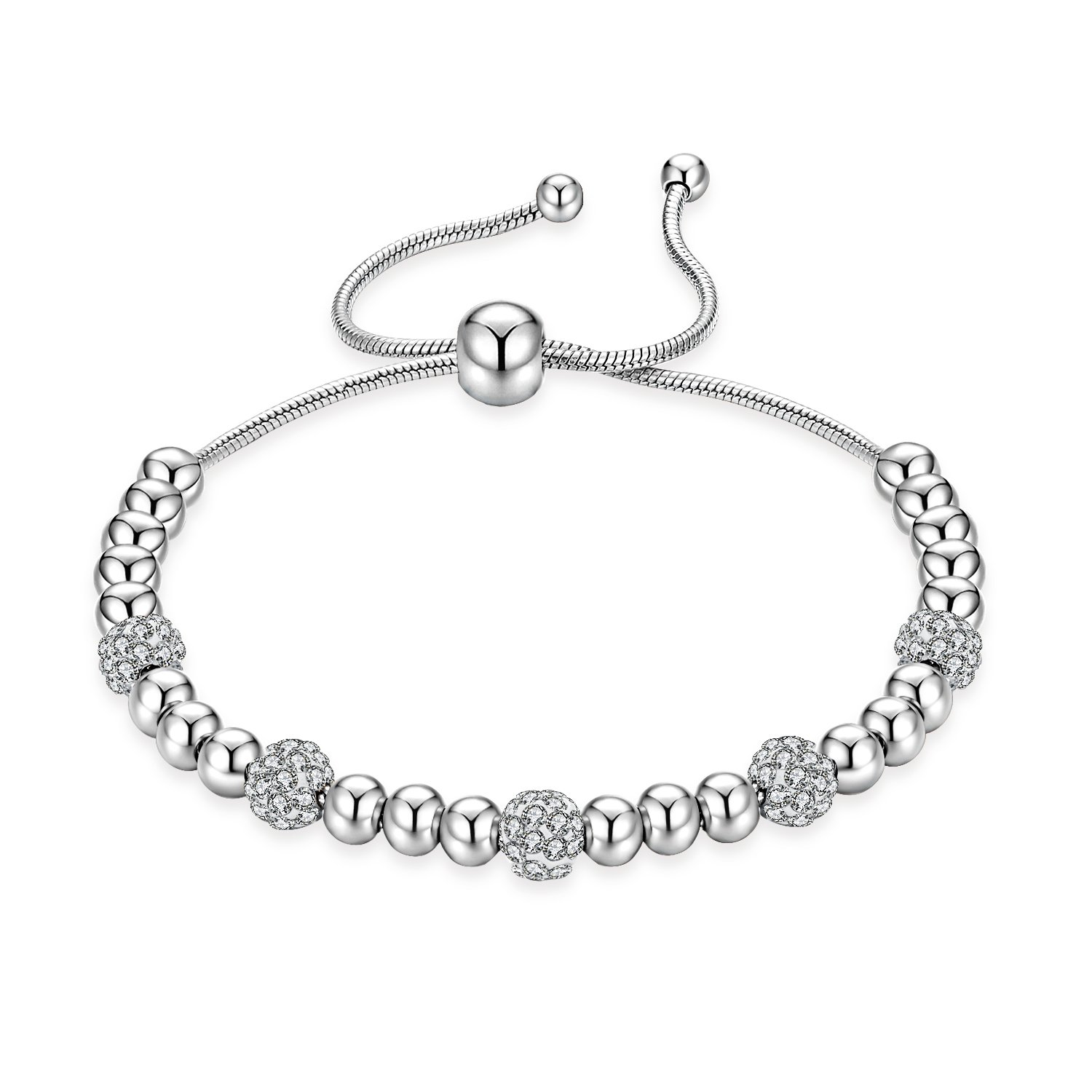 MONIYA Silver Tone Stainless Steel Adjustable Beads Bracelet With Sparkling Cubic Zirconia Stone For Women