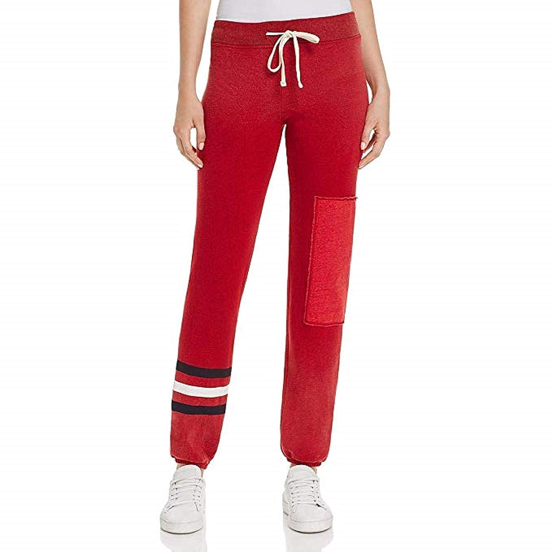 SUNDRY Stripe Patch Sweatpant Crimson