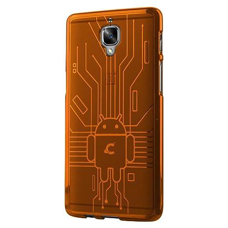CruzerLite OnePlus 3/3T caso, cruzerlite Bugdroid Circuit – Carcasa de TPU para OnePlus tres/OnePlus 3/3T – Paquete al por menor – naranja