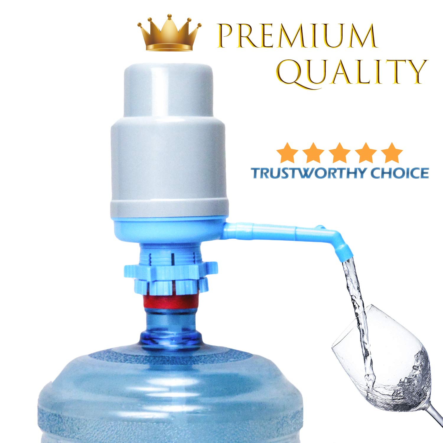 Water Bottles Pump Blue Gray Thickened Manual Hand Pressure Drinking Fountain Pressure Pump Water Press Pump with an Extra Short Tube and a Sanitary Cap Fits Most 2-6 Gallon Water Coolers