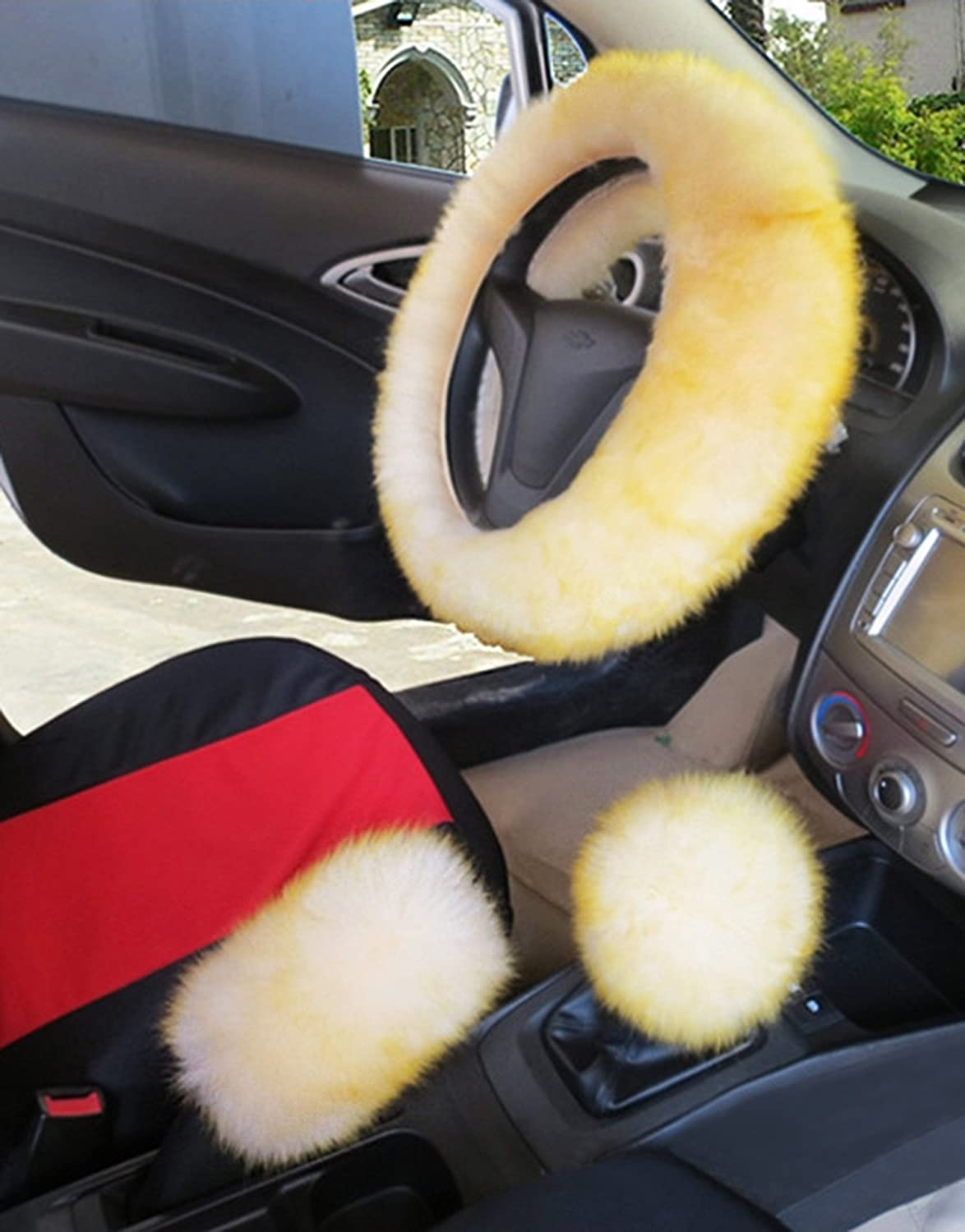 """youarefacny faux fur steering wheel cover warm faux wool handbrakeyouarefacny faux fur steering wheel cover warm faux wool handbrake fuzzy fluffy sheepskin gear shift cover 1 set 3 pcs 14 96\""""x14 96\"""" for womens"""