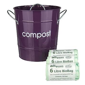 purple kitchen compost caddy u0026 150x allgreen biobags composting bin for food waste