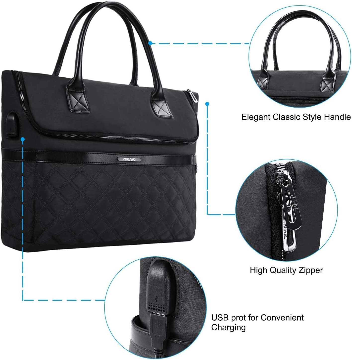 Notebook Up to 17.3 Inch MOSISO Laptop Tote Bag with USB Charging Port Polyester /& Microfiber Multifunctional Business Work Office Travel Shopping Carrying Handbag Compatible MacBook Black