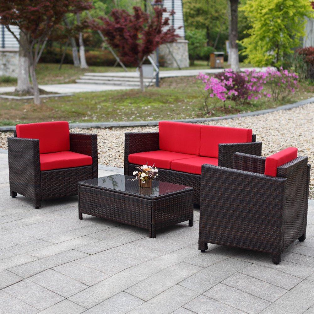 Ikayaa 4er Rattan Lounge Set Polyrattan Gartenmöbel Set Dunkelbraun