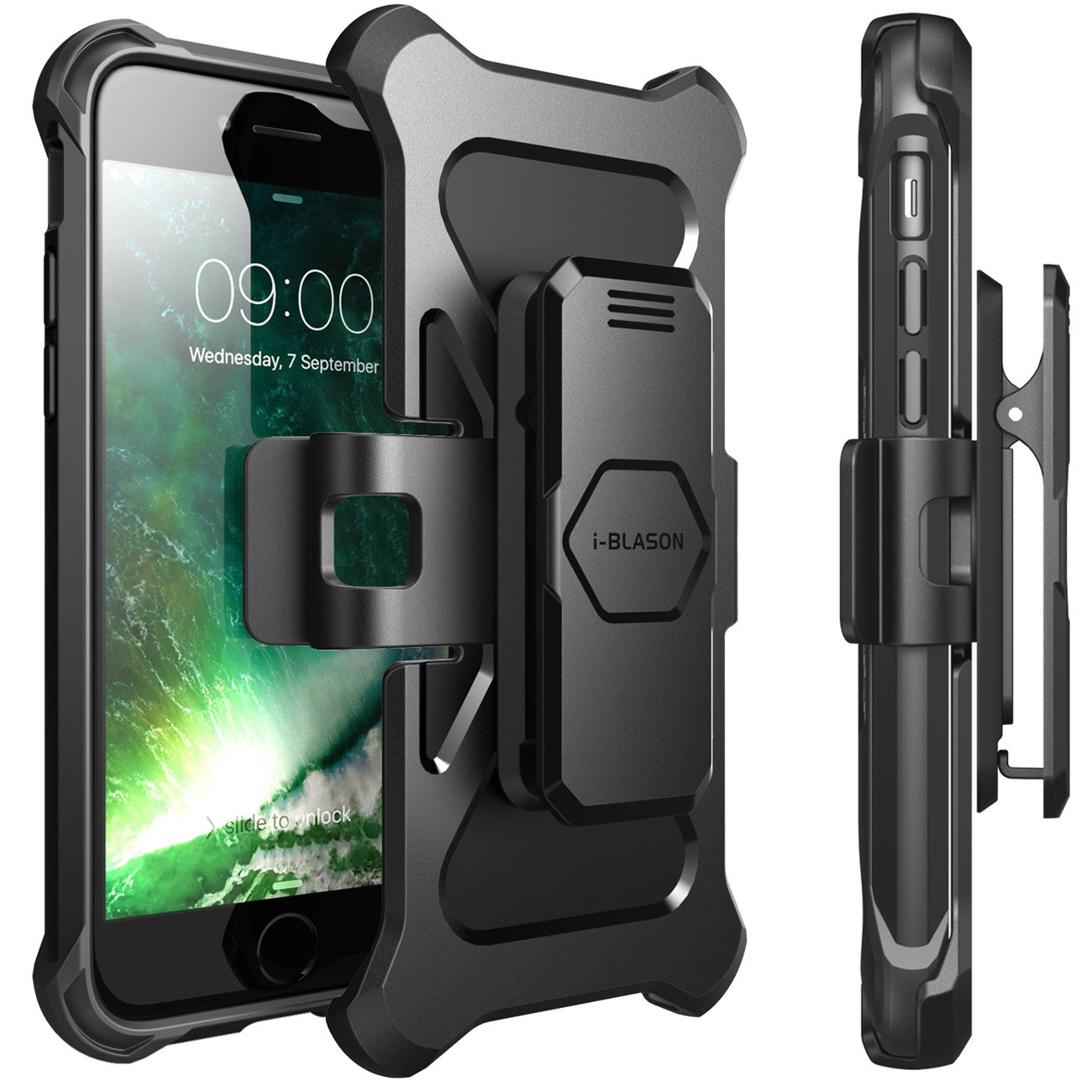 iPhone 7 Case, iPhone 8 Case, i-Blason Transformer [Kickstand] Apple iPhone 7/Apple iPhone 8 [Heavy Duty] [Dual Layer] Combo Holster Cover case with [Locking Belt Swivel Clip] (Black) by i-Blason (Image #1)