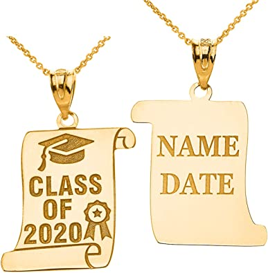 Amazon Com Certified 10k Gold Personalized Cap Ribbon Charm Class Of 2020 Graduation Pendant Necklace 16 Jewelry