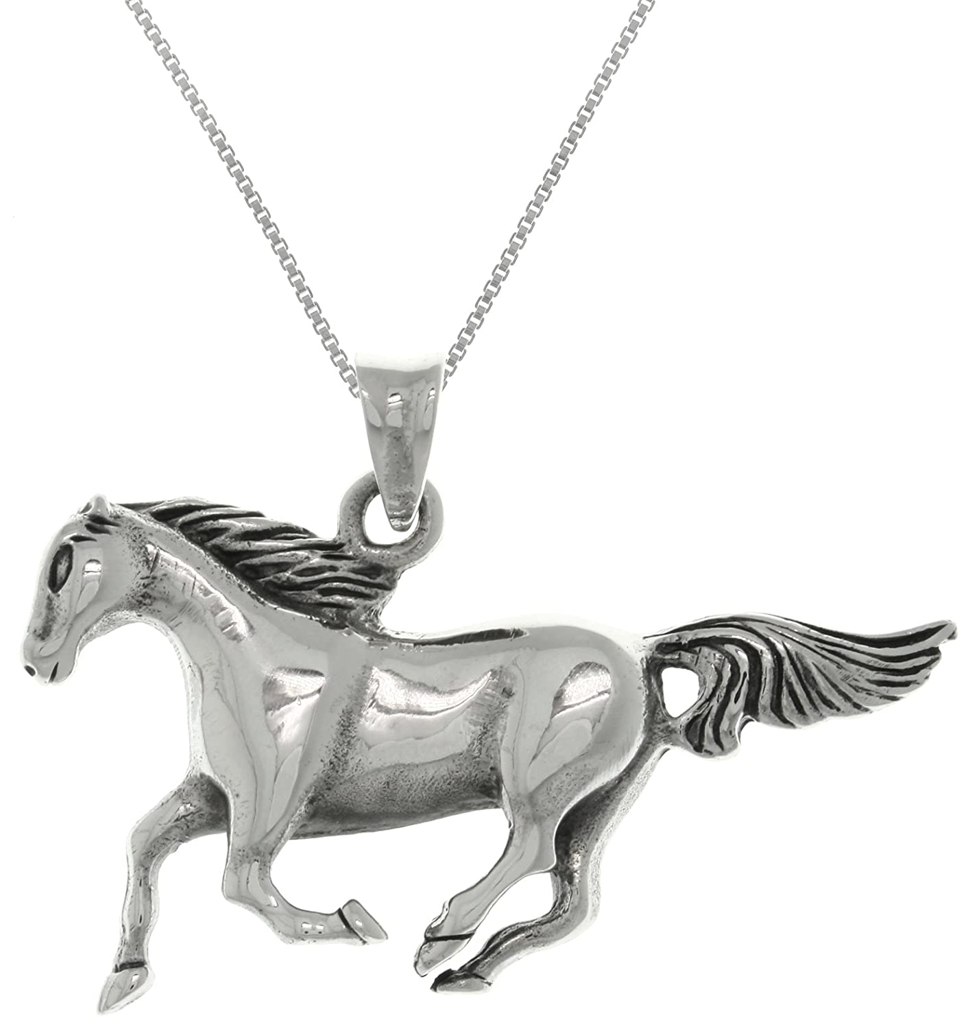 Jewelry Trends Sterling Silver Mustang Running Horse Pendant Necklace 18