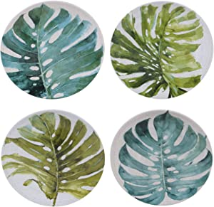 "Certified International Palm Leaves 8.75"" Round Salad/Dessert Plate, Set of 4 Assorted Designs,One Size, Multicolored"