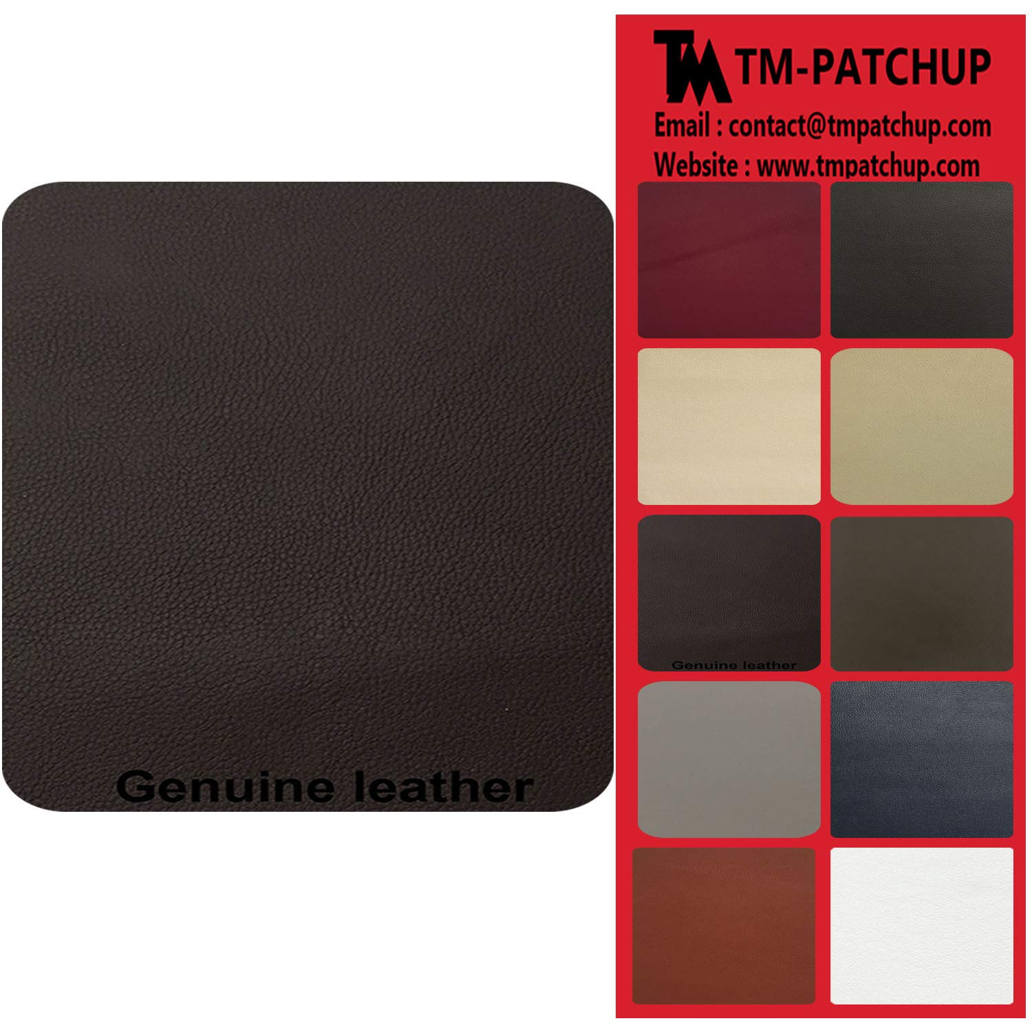 TMgroup, Leather Patches for Furniture, Genuine Leather Repair Patch kit, Peel and Stick for Couch, Sofas, car Seats, Hand Bags,Furniture, Size 6-inch x 3-inch (Dark Brown, Quantity : 1)