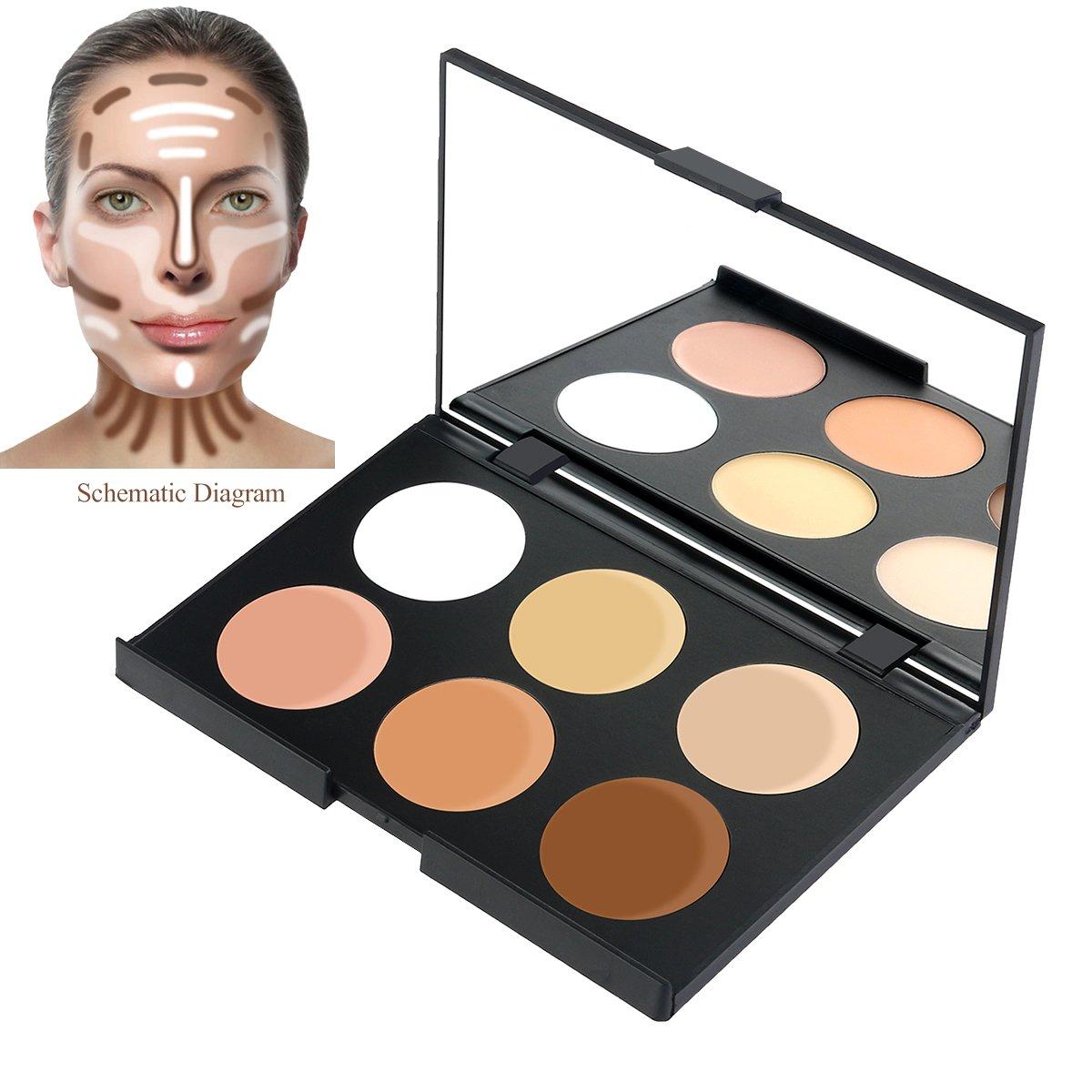 RUIMIO Contour Kit Cream Contour Palette 6 Colors with Makeup Brush Set by PIXNOR (Image #5)