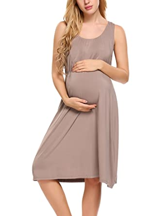 Hotouch Women s Maternity Cotton Floral Print Nursing Nightdress Cappuccino  S 9358c7efc