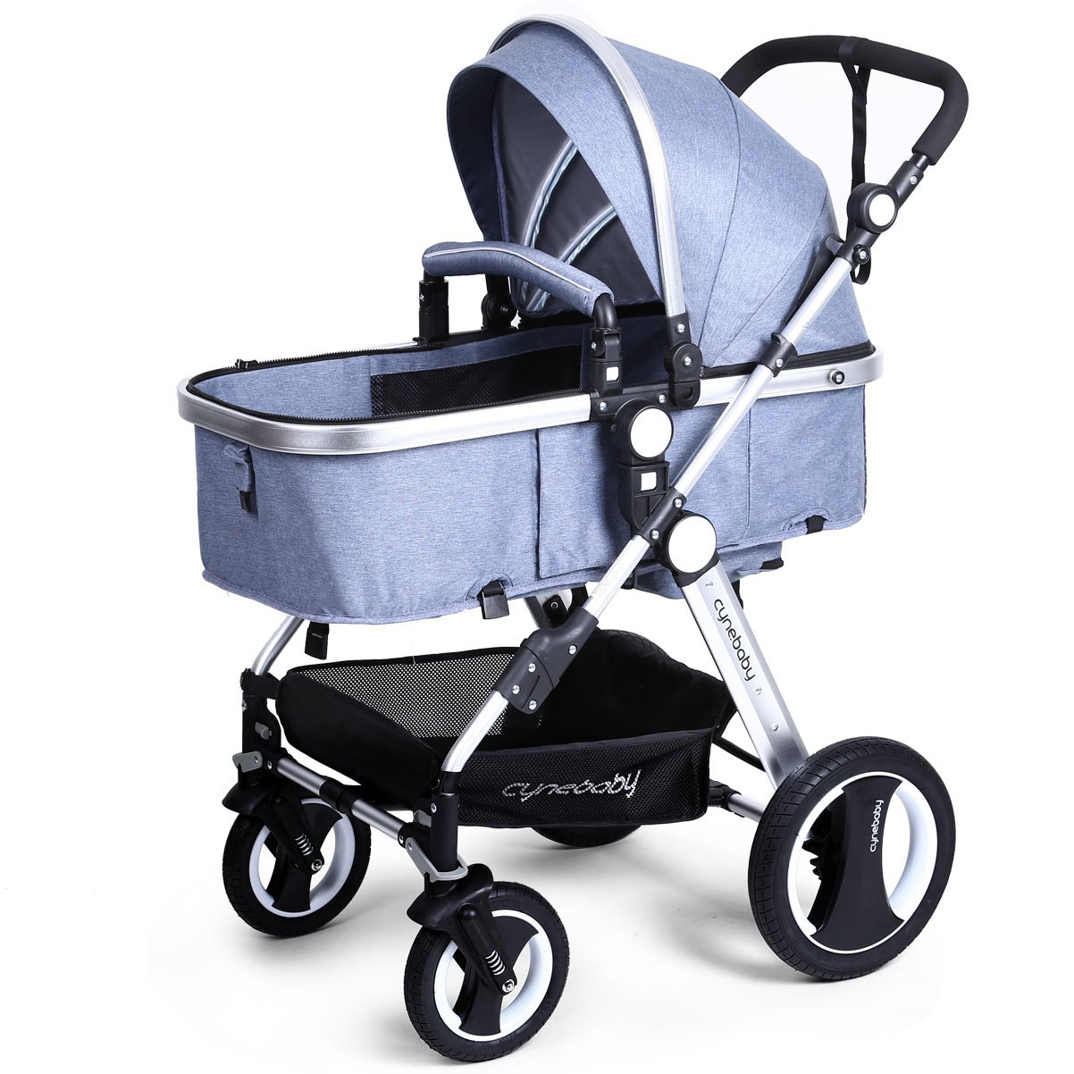 Infant Baby Stroller Toddler Carriage - Cynebaby Folding Pram Bassinet Strollers with Cup Holder (blue) by cynebaby (Image #2)