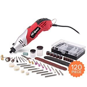 Hi-Spec 170W 1.4A Corded 8,000-35,000rpm Multi Purpose Rotary Power Tool. Cutting & Crafting, Sanding, Grinding, Engraving & More. Plus 120 Piece Bits Accessories Kit. DREMEL Bits Compatible