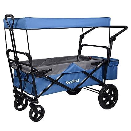 WOLTU Carro para Jardín con Toldo de Protección Carga Ruedas con Bolsa para Playa Acampada Exteriores Máx.80kg Color Azul TW016blg: Amazon.es: Industria, empresas y ciencia