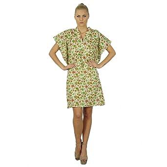 Bimba Femmes Bohême Coton imprimé Robe Caftan Tunique Courte Caftan Plage   Amazon.fr  Vêtements et accessoires 574cca134f8